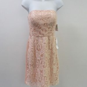 DONNA MORGAN Peach Avery Lace Fit & Flare Dress